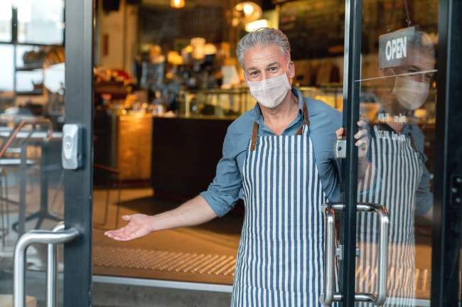 Man opening business border bubble
