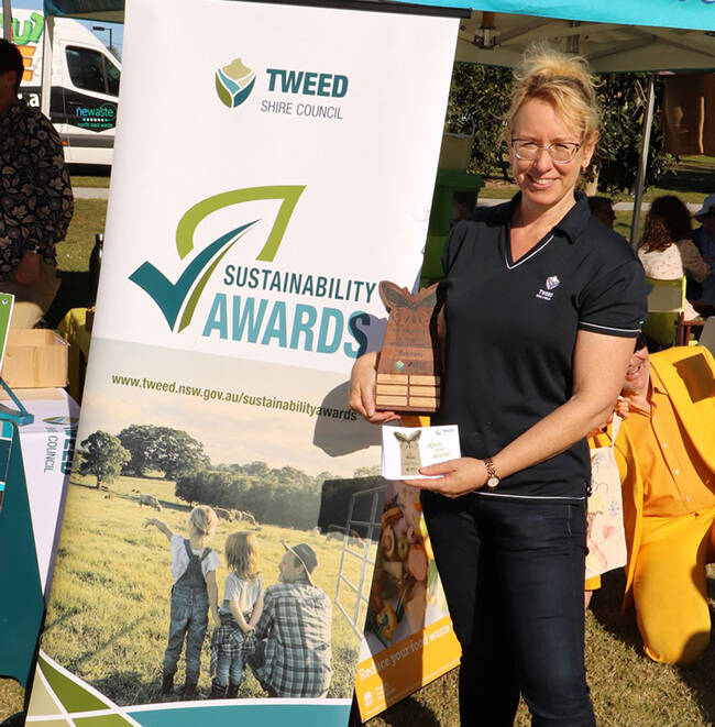 Program Leader - Sustainability Debbie Firestone promoting the Sustainability Awards at the World Environment Day Festival 2021 in Murwillumbah.