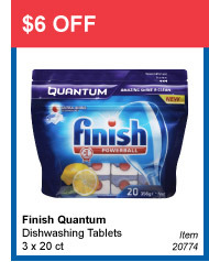 $6 OFF - Finish Quantum Dishwashing Tablets 3 x 20 ct - Item 20774