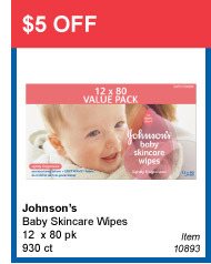 $5 OFF - Johnson's Baby Skincare Wipes 12 x 80 pk 930 ct - Item 10893
