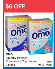 $6 OFF - OMO Laundry Powder Front and/or Top Loader 2 x 5kg - Item 11578, 11580