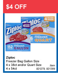 $4 OFF - Ziploc Freezer Bag Gallon Size 4 x 38ct and/or Quart Size 4 x 54ct - Item 921279, 921389
